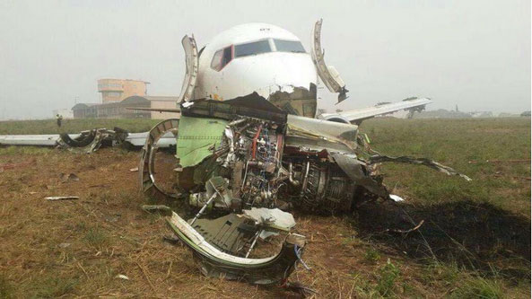 The aircraft came to rest off the runway with a separated right hand main gear and engine