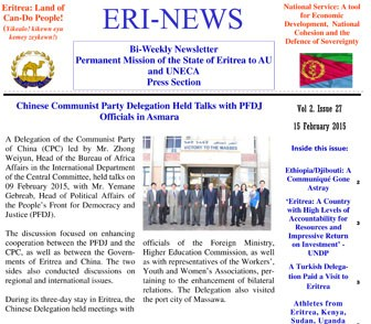 Eritrean Mission to the AU and UNECA released Eri-News 2 #27
