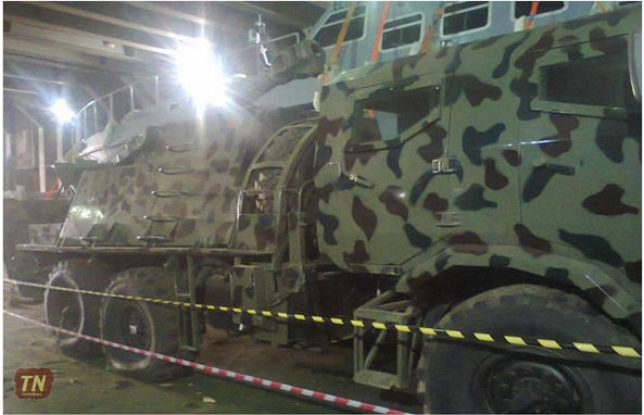The alleged World War II era armored vehicles and other military equipment that Somaliland imports during offloading in Berbera port