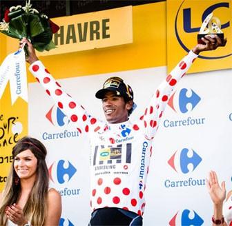 Teklehaimanot Africa's first ever wearer of the Tour de France Polka Dot jersey