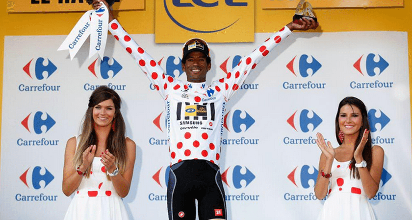 Daniel Teklehaimanot claims the polka dot jersey