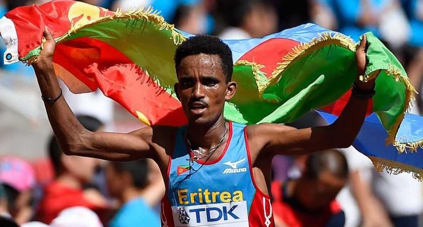 Ghirmay Ghebreslassie races to victory in the men's marathon