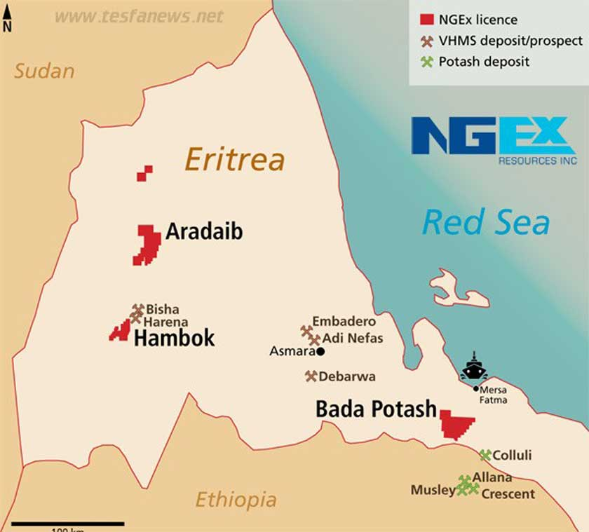 NGEX Resources licence area in Eritrea