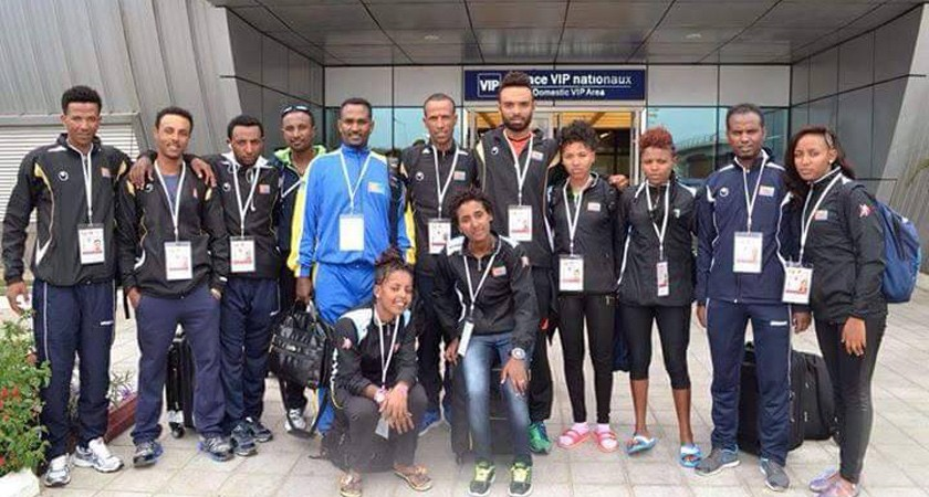 Eritrean cycling team in brazzaville