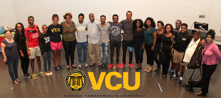 Members of the Eritrean Student Association at the Virginia Commonwealth University with the Eritrean National Cycling Team