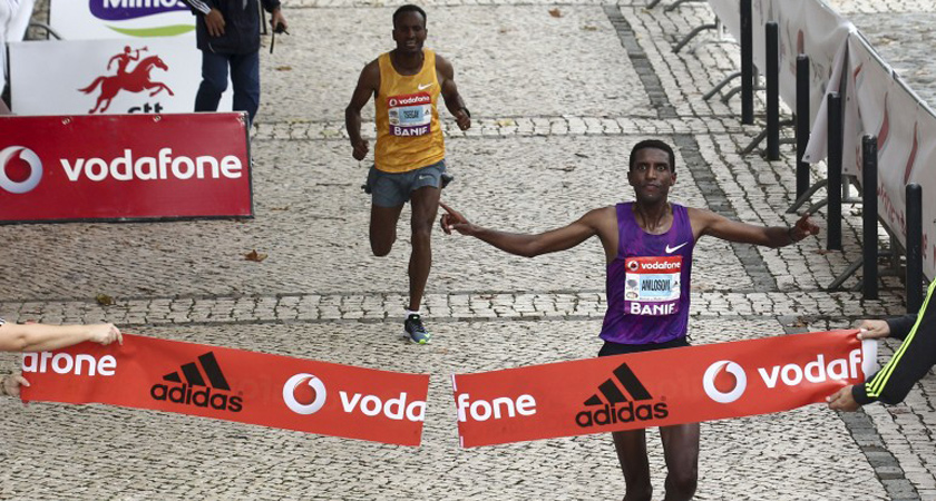 The 2015 Rock'n'Roll Lisbon Half Marathon in Lisbon winner, Eritrean Nguse Amlosom