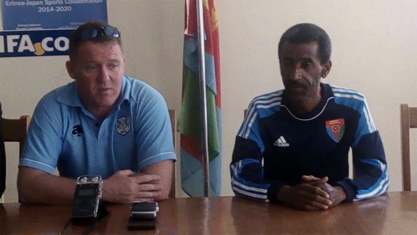 Zebras coach, Peter Butler and Red Sea Camels Coach Alemseged Efrem