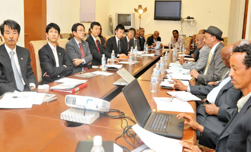 Minister of National Development Dr. Ghiorghis Teklemichael with the visiting Japanese