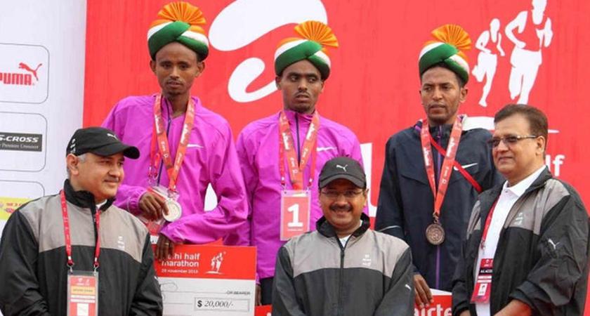 delhi half marathon winners presentation ceremony