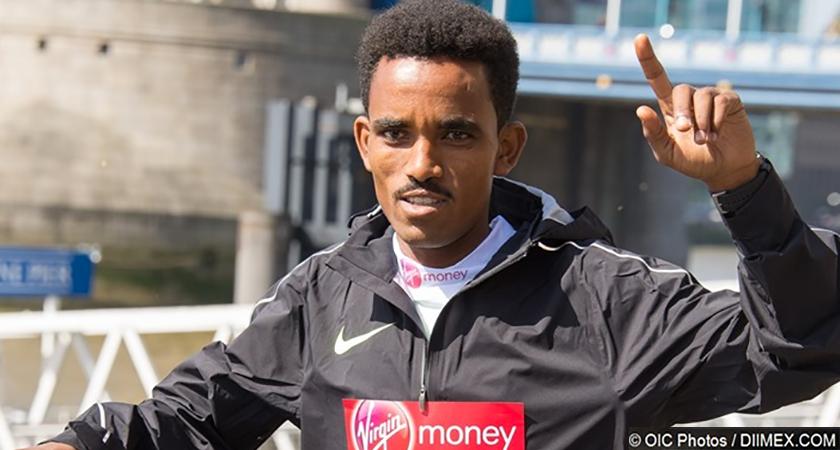 Ghirmay Ghebreslassie at the 2016 Virgin Money London Marathon