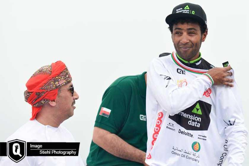 Merhawi Kudus winning white jersey at the Tour of Oman