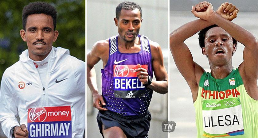 Eritrean Ghirmay Ghebreslassie racing for fast time at the 2017 Virgin Money London Marathon