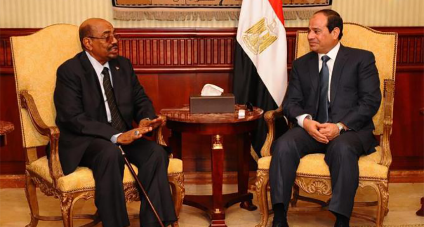 President Al-Bashir claiming Egypt occupying sovereign Sudanese lands of the Halayeb triangle