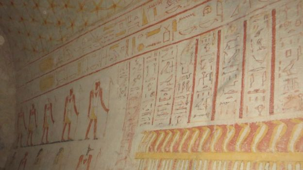 There are also paintings inside the pyramids in Sudan