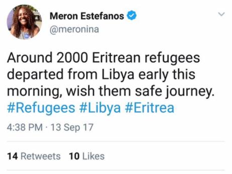 Meron Estefanos tweeting trafficking ...