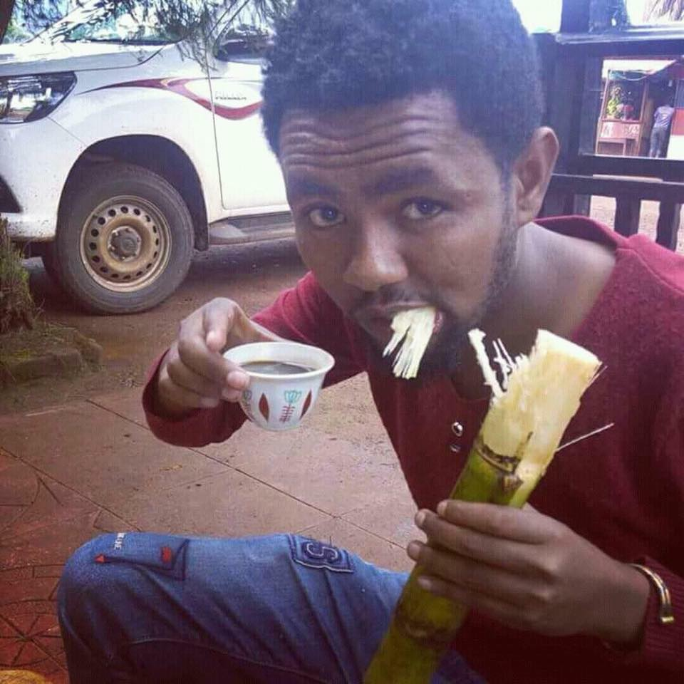 Hilarious photo of an Ethiopian man to express the level of scarcity of Sugar in the country.