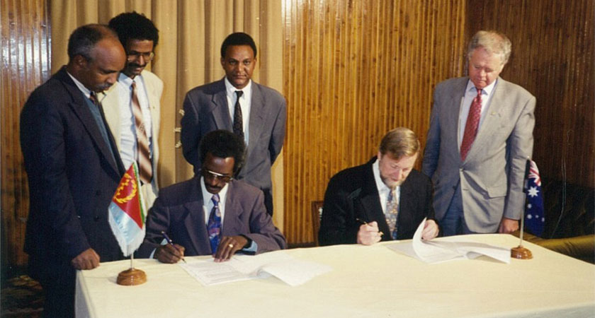Foreign Minister Gareth Evans signs an MOU with the Eritrean government in 1994 in Asmara