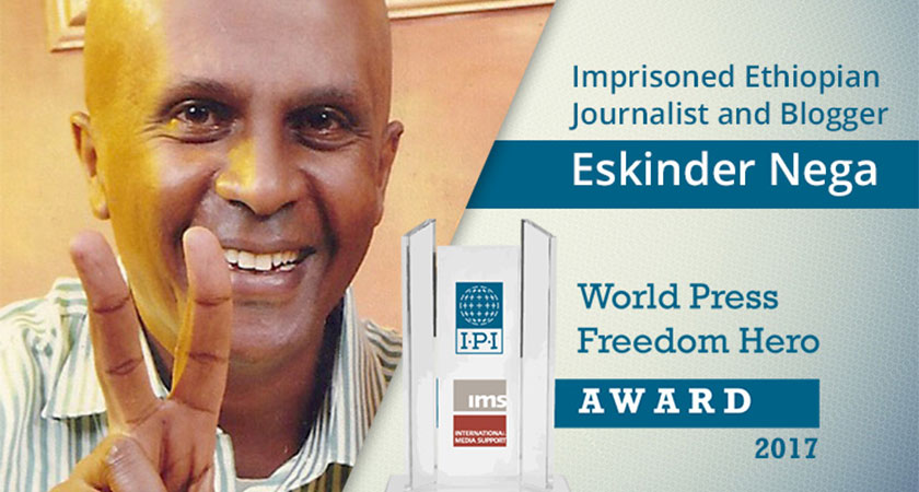 "Ethiopia isn't ""releasing"" journalist-blogger Eskinder Nega from seven years in prison"