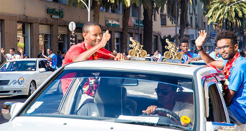 Eritrean National Cycling Team Accorded Warm Welcome