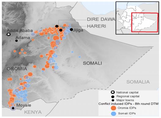 Ethiopia displacement sites due to the Somali-Oromia conflict