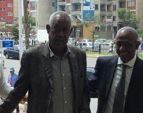 Mohammad Taha Tawakul with a senior TPLF leader Sibhat Nega