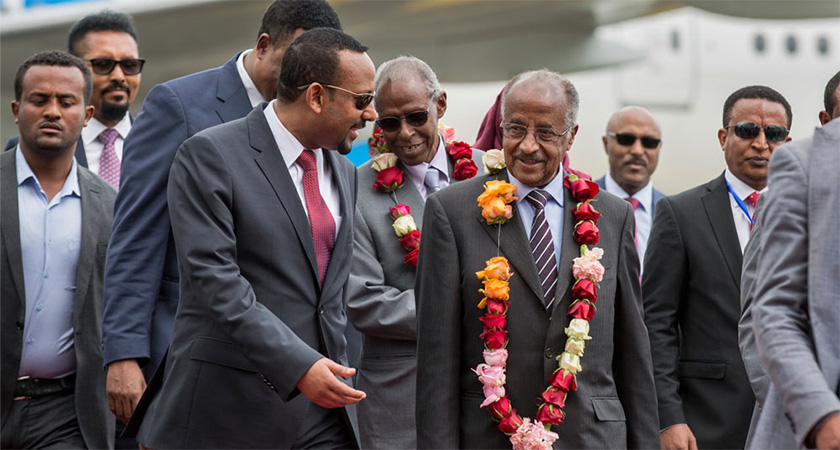 Eritrea's foreign minister welcomed by Ethiopia's prime minister in Addis Ababa