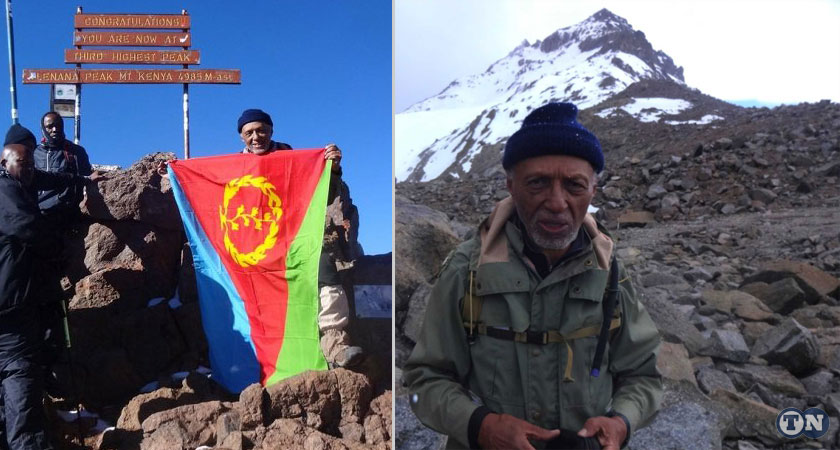 Dr Naigzy Gebremedhin and the Eritrean Flag on Mount Kenya