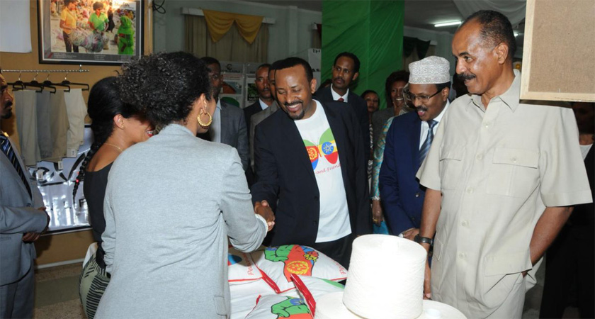 Presidents of Ethiopia and Somalia visiting the ZaEr Dolce Vita stand at the Expo ground in Asmara.