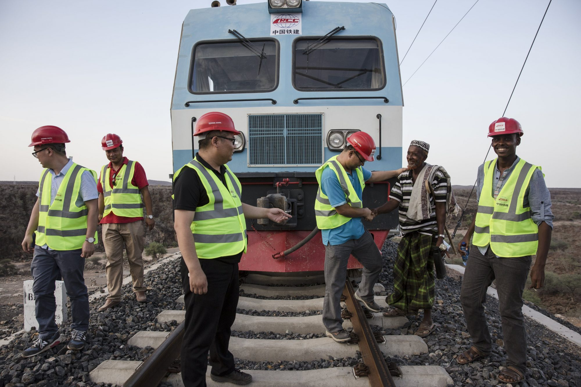 Chinese and African workers on the Addis Ababa–Djibouti railway