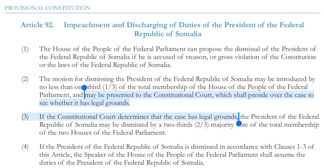 Somali Constitutional Court - impeachment