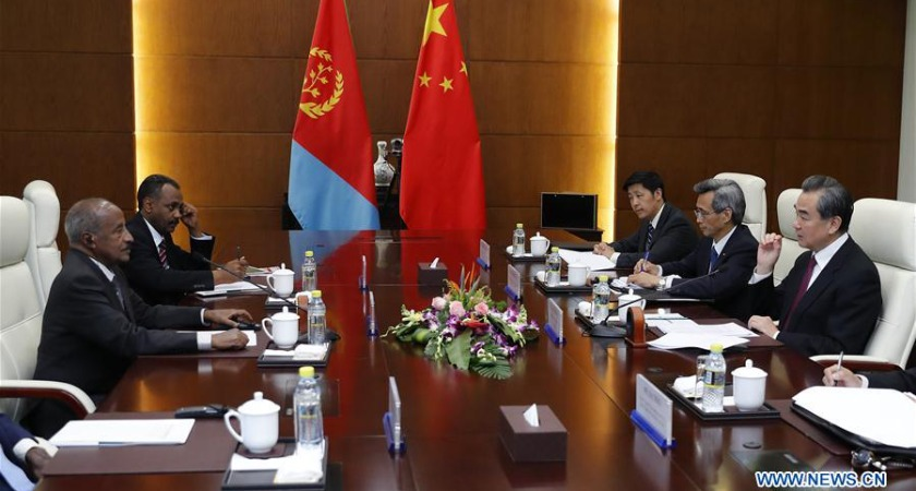 Eritrean Foreign Minister Osman Saleh Mohammed meets his Chinese counterpart Wang Yi at Diaoyutai State Guesthouse in Beijing.