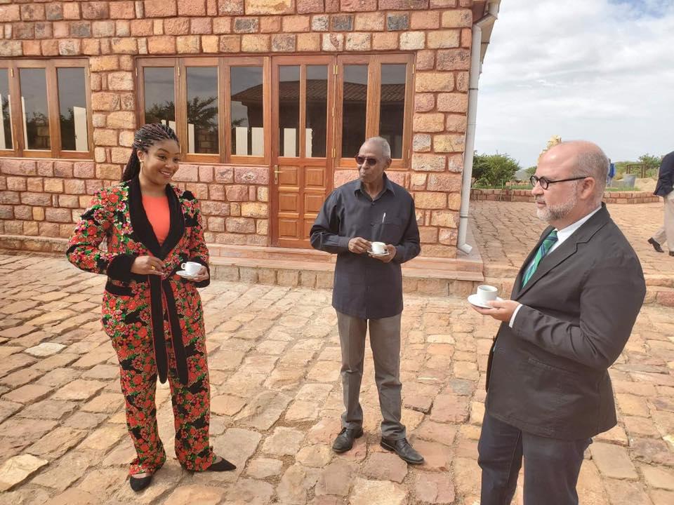 Tiffany Haddish and Eritrean Official Yemane G/ab at Adi Hallo dam
