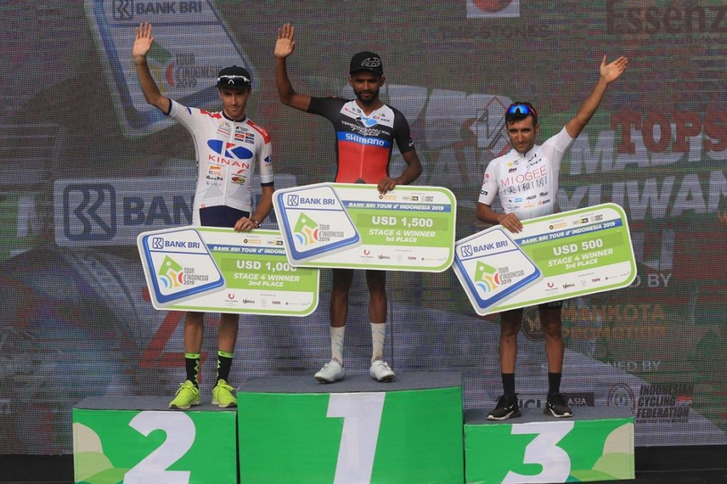 Metkel Eyob of Trengganu TSG Cycling wins Stage 4 of the 2019 Tour de Indonesia