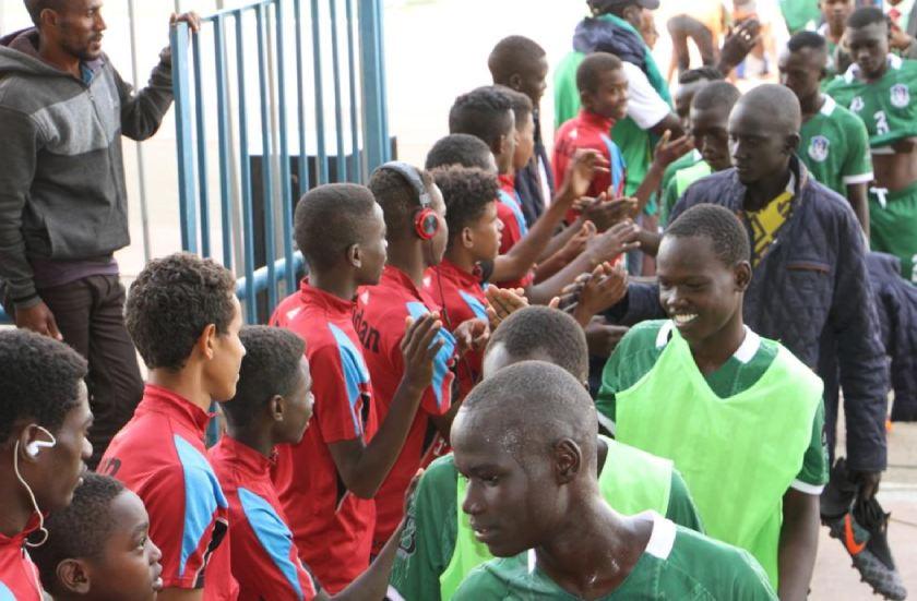 Sudan and South Sudan U15 players greeting in Asmara