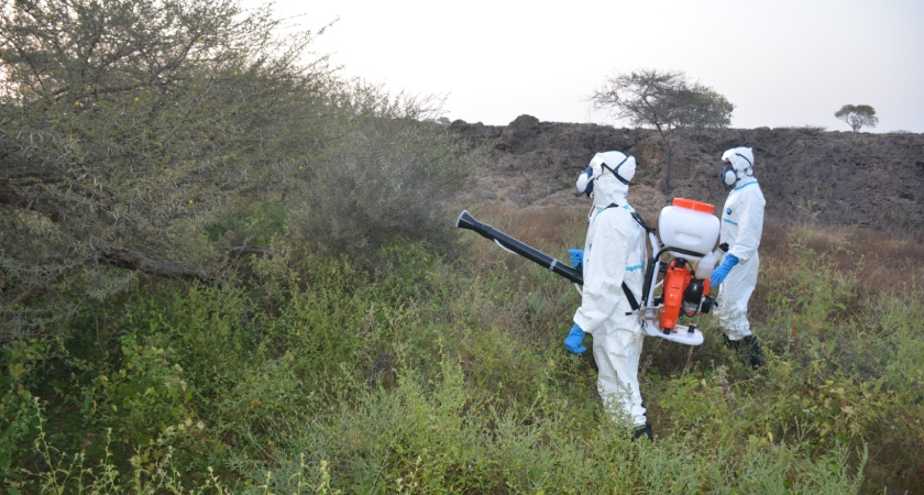 Desert Locust backpack and vehicle-mounted sprayers