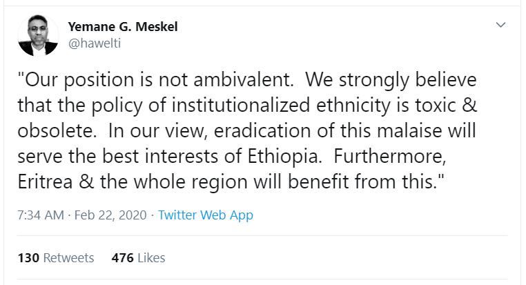 Eritrea federalism in Ethiopia