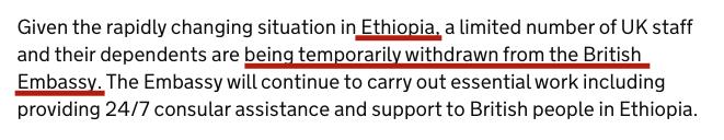 UK's FCO statement for Ethiopia
