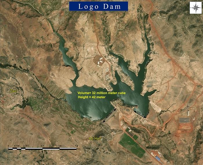 The Logo dam as seen a few hundreds feet above the ground